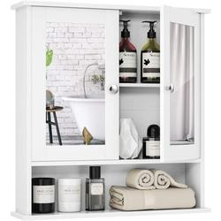 Tangkula Bathroom Cabinet Wall Mounted with Double Mirror Doors, Wood Hanging Cabinet with Doors and Shelves, Bathroom Wall Mirror Cabinet (White)