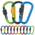 10 Pack Locking Carabiner Clips, Aluminum Carabiner D Shape Buckle, Aluminum Carabiner D-Ring Locking Key Security Camping Climbing Hiking Keychain ( 10 PCS) (color)