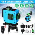 16 Line 4D Laser Level Green Light Self Leveling Cross Line Laser Level 4/8/12/16 Line Adjustable Beam Tool for Construction Picture Hanging Wall Writing Painting Home Renovation Floor Tile with Horiz