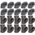 20 Pack Brooklyn Pipe 3/4 Inch Pipe Fittings (10 Pipe Elbows, 10 Pipe Tees) 3/4 Inch Cast Iron Pipe Fittings, Tee and Elbow Pipe Fittings for Industrial, Steampunk and Retro Furniture Projects