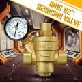 1/2inch DN15 Brass Water Pressure Reducing Valve With Gauge Flow Adjustable US,Water Pressure Regulator Valve,Brass Adjustable Water Pressure Reducer with Gauge
