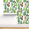 Removable Water-Activated Wallpaper Pine Tree Green Brown Forest Nature Trees