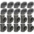 Brooklyn Pipe 3/4 Pipe Fitting Combo Pack - 10 Pipe Elbows, 10 Pipe Tees Furniture Grade 1/2 Inch Cast Iron Pipe Fittings, Tee and Elbow for Steampunk Shelf and Retro Furniture Project