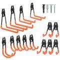 14 Pack Garage Hooks Heavy Duty, Steel Garage Storage Hooks, Utility Double Tool Hangers Wall Mount Garage Hooks with Anti-Slip Coating for Garden Tools, Ladders, Bulky Items (Orange)