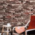 CVLIFE 3D Rustic Brick Wallpaper Textured Washed Stone Grey Wallpaper 6M