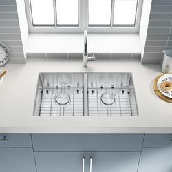 Starixs Trade Kitchen Sink 304 High Quality Stainless Steel Under Counter Kitchen Sink Modern Kitchen Sink, Concave Double Sink 32*18*9 Inch Stainless Steel Kitchen Sink and Accessories
