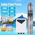 1,200L/H Submersible Deep Well Water Pump 3� Screw Bore Pump, Submersible Solar Water Well DC Stainless Steel 24V 120W Submersible with MPPT Controller Kit