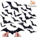 3D Scary Bats Wall Decal, Halloween Decoration Bats Wall Stickers, Bats Wall Decoration, 36pcs Black 3D DIY PVC Bat Wall Sticker Decal, Bats Wall Decal for Walls, Window, Screens, Mirror