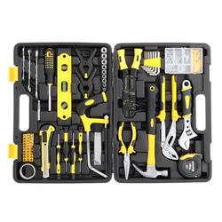 Household Tool Set, 218 Piece Home Repair Basic Tool Kit Sets with Plastic Toolbox Storage Case, General Car Tools Mechanic Tool Boxes for Home Maintenance, Hand Tool Kits with Tool Box, Yellow, J833