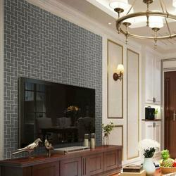 3D Effect Brick Wall Stickers Self-Adhesive PVC Wallpaper Peel and Stick Wallpaper Sticker Waterproof for Home Design and Room Decoration, Oblique Grey Brick Style