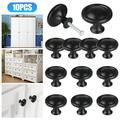 10Pcs Cabinet Knobs, TSV Kitchen Round Mushroom Drawer Handles, Cabinet Hardware Round Knobs with Screws, Elegant Black Finish, for Bathroom Cabinets Dresser Home Decor (1.22in Diameter, Black)