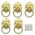 Tegg Lion Head Pull Handle 5PCS Golden Chinese Style Lion Head Pull Handle with Knob Ring for Furniture Door Cabinet Dresser Drawer Cupboard Closet Door Handles Knobs