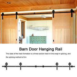 OTVIAP 8FT Double Door Splicing Round Wheel Carbon Steel Barn Door Hanging Rail, Barn Door Rail,Sliding Barn Rail, Door Rail