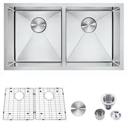 32-inch Kitchen Sink, Stainless Steel Sink with Sink Net and Sink Hole Cover, Drop-in Low-Divide Tight Radius 50/50 Double Bowl 16 Gauge Topmount Kitchen Sink