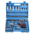 Fugacal Ratchet Wrench Tool Case,108Pcs Ratchet Wrench Set 1/4in 1/2in CR40 Steel Socket Set Tool Case + Box Hand Tool Kits,Ratchet Wrench Set
