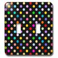 3dRose Colorful Polka dot pattern on black - Rainbow Multicolor Cute Dots and Spots Patterns - Double Toggle Switch (lsp_56682_2)