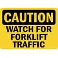 Caution - Watch For Forklift Traffic Osha Safety Notice Signs For Work Place Safety - 12x18- Aluminum Sign - Easy Installation-Lifetime Warranty