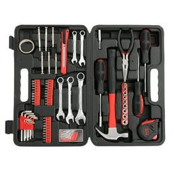 Household Tool Set, 148 Piece Home Repair Basic Tool Kit Sets with Plastic Toolbox Storage Case, General Car Tools Mechanic Tool Boxes for Home Maintenance, Hand Tool Kits with Tool Box, Red, J823