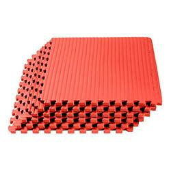 We Sell Mats 1 Inch Thick Martial Arts EVA Foam Exercise Mat, Tatami Pattern, Interlocking Floor Tiles for Home Gym, MMA, Anti-Fatigue Mats, 24 in x 24 in, Red, 24 Square Feet (6 Tiles) (TL-