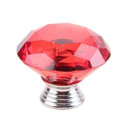 40mm Polished Red Glass Crystal Rhinestone Door Knob Kitchen Cupboard Wardrobe Drawer Pull Handle by Jooan