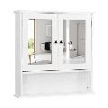 Topeakmart Wall Mount Bathroom Wall Cabinet with Double Mirror Doors Bathroom/Bedroom/Kitchen Storage Cabinet White