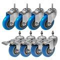 "FactorDuty 4 Inch BLUE Caster Wheel Combo 4 No Brake & 4 Dual Locking Brake 3/8""-1.2"" Threaded Stem Mount Caster Wheel Polyurethane Wheels Premium Non Marking No Noise 300LB Per Wheel (Pack of 8)"