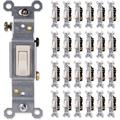 GE, Light Almond, Grounding Toggle 25 Pack, Single Pole, In Wall On/Off Fan & Light Switch Replacement, 15 Amp, for Home, Office & Kitchen, UL Listed, Wallplate not included, 44037