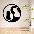 Disney Cartoon Character Mulan And Li Shang Yin Yang Cute Silhouette Wall Sticker Design For Kids Boys Girls Room Bedroom Fun Wall Home Decal Design Sticker Wall Art Vinyl Decoration Size (20x20 inch)