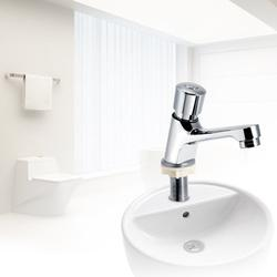 HERCHR Faucet, Public Ktchen Bathroom Chrome Plated Self Closing Water Saving Time Delay Basin Sink Tap Faucet, Bathroom Faucet, Basin Faucet