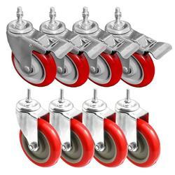 "FactorDuty Heavy Duty 5 Inch RED Caster Wheel Combo 4 No Brake & 4 Dual Locking Brake 3/8""-1.2"" Threaded Stem Mount Caster Wheel Polyurethane Wheels Non Marking No Noise 350LB Per Wheel (Pack of 8)"