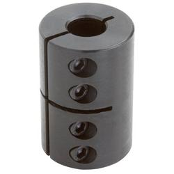 Climax Part CC-062-050 Mild Steel, Black Oxide Plating Clamping Coupling, 5/8 inch X 1/2 inch bore, 1 1/2 inch OD, 2 1/4 inch length, 10-32 x 1/2 Set Screw