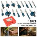 1/4 Handle 15PCS Plastic Box Wood Milling Cutter Plastic Box Set