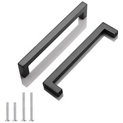 50 Pack Probrico Black Stainless Steel Square Corner Bar Cabinet Door Handles Drawer Pulls Knobs 1/2 in Width Hole Centers 6-1/4 inch 160mm