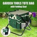 Multifunction 2 in 1 Garden Seat Chair Foldaway Detachable Garden Tools Storage Tote Bag Organizer Bag with Folding Garden Seat Camping Rocking Chair