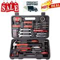 AMSUPERMALL 148-Piece Tool Set, General Household Hand Tool Kit with Plastic Toolbox Storage Case, Iron Household Tool Set, Socket & Socket Wrench Sets for Home Repair, Red