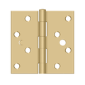 """Deltana S444BMS 4"""" Height X 4"""" Width Plain Bearing Mortise Door Hinge Square Corner Brushed Brass Bulk Pack"""