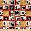 Fabri-Quilt Rooster Inn Patchwork Multi Fabric by The Yard,, Fabric type: 100% Cotton By FabriQuilt