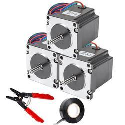 VEVOR Stepper Motor 1.26Nm High Torque Stepper Motor, NEMA 23 Step Motor, 2 Phase 1.8 Degree 2.8A Stepping Motor, 2.52V 3PCS 57 x 57 mm Body CNC Stepper Motor Kit, for DIY CNC / 3D Printer/Extruder