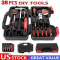 New Arrival Tool Set Toolbox with Tools,Piece Home Repair Tool Set, 39pcs Tool Kit Red for Homeowners, General Household Hand Tool Set with Storage Toolbox