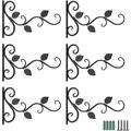 6 Pack Wall Hook Hanging Plant Bracket,11.8 inches Iron Hanging Hooks Screws Included, Decorative Plant Hanger for Bird Feeders, Planters, Lanterns, Indoor Outdoor Rustic Home Decor (6 Pack, Black)