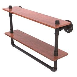 Pipeline Collection 22 Inch Double Ironwood Shelf with Towel Bar