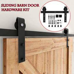 6.6ft ModernBlack Sliding Barn Wood Door Hardware Track Kit Interior Sliding Barn Wood Door Closet Hardware Track Kit