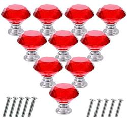 Doingart Drawer Knobs 10pcs Crystal Glass Kitchen Cabinet Knobs 30mm Diamond Shape Dresser Cupboard Wardrobe Pulls Handles, Red