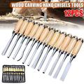 12Pcs/Set Chisels Wood Carving Craft Knife Hand Work Tool Kit Hand Chisel Woodworking Straight V Round Skew Bent Gouges Tools with Roll-Up Carrying Case,Wood Carving Hand Chisel Set