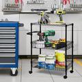 3 Tier Metal Storage Shelves with Wheels, Service Utility Storage Cart, Office Rolling Cart Organizer with Wire Storage Baskets, Black