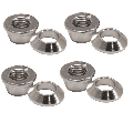 Universal Chrome Flange/Tapered Locking Lug Nut Set 10mm x 1.25mm Thread Pitch (4 Pack) for Kymco Mongoose 300 2010-2014