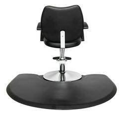 Veryke Salon Anti Fatigue Mats, 3' x 4' Beauty Salon PU Rectangle Salon Mat, Standing Mat, Half Round Salon and Barber Shop Chair Anti-Fatigue Floor Mat for Hair Stylist, Black