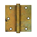 """Deltana DSB35RT 3-1/2"""" Height X 3-1/2"""" Width Commercial Solid Brass Mortise Hinge Plain Bearing W/SQ Corner Rust Pair"""