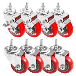 "FactorDuty 4 Inch RED Caster Wheel Combo 4 No Brake & 4 Side Brake 3/8""-1.2"" Threaded Stem Mount Caster Wheel Polyurethane Wheels Premium Non Marking No Noise 300LB Per Wheel (Pack of 8)"