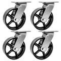 """FactorDuty 4 Pack 5"""" Vintage Caster Wheels Swivel Black Cast Iron Heavy Duty Casters Industrial 3600LB Overall Capacity Rustic Retro Antique Cart Style Old Style"""